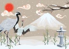 Illustration med kranar på snöig bakgrund vektor illustrationer