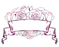 Illustration med krullat pergament, hjärta av rosor Ram med st?llet f?r text kantlagrar l?ter vara vektorn f?r oakbandmallen royaltyfri illustrationer