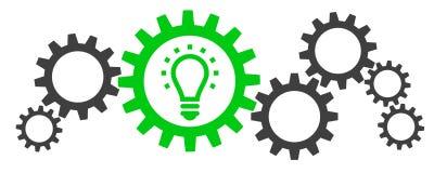 Illustration med kugghjul och en lightbulb stock illustrationer