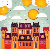 Illustration med liten stad Royaltyfria Foton