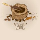 Illustration med påsen av kaffe och skopan vektor illustrationer