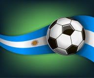 Illustration med soccetbollen och flaggan av Argentina royaltyfri illustrationer