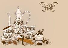 Illustration med tappningkaffeservice royaltyfri illustrationer