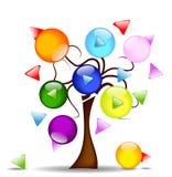 Illustration med treen och multi-directional butto Arkivbild