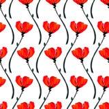 Illustration med vallmoblommor som isoleras på vit bakgrund Blåtthav, Sky & moln Blommande blommastrålkastare stock illustrationer