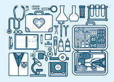 Illustration of medic supplies, drugs, pills, tools, clothing, medical suitcase in line style Stock Image
