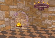 Castle Hall and Fireplace Stock Photos
