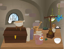 Illustration of Medieval pharmacy Royalty Free Stock Images