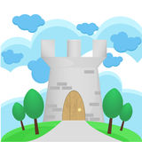 Illustration of Medieval tower with big cloud Stock Image