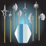 Illustration of medieval weapons and shield Stock Photography