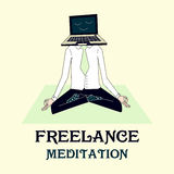 Illustration of meditating freelancer working Royalty Free Stock Photos