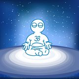 Illustration of meditating person in space. Vector illustration of meditating person in space Royalty Free Stock Photo