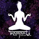 Illustration of meditation in lotus position of yoga. vector illustration