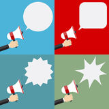 Illustration of megaphone and speech bubbles. Royalty Free Stock Photos