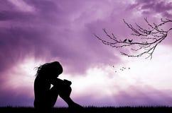 Melancholic girl at sunset. Illustration of melancholic girl at sunset Royalty Free Stock Photos