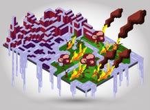 Illustration of melt ice. Showing global warming Royalty Free Stock Images