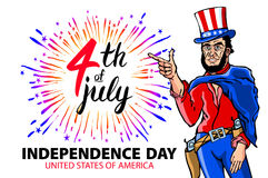 Illustration of a men celebrating Independence Day Vector Poster. 4th of July Lettering. American Red on Blue Background with Star Stock Photography