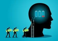 Changing Batteries. Illustration of men changing batteries of human brain vector illustration