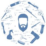 Illustration of men hairstyles, beards and mustaches, hairdresser tools care. Male haircuts. Barbershop symbol vector illustration