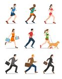 Illustration of Men and Women Running. People running illustration. Side View Stock Photography