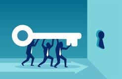 Men carrying key in team royalty free illustration