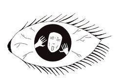 Illustration of mental illness. Of a screaming man trapped inside an eye full of madness royalty free illustration