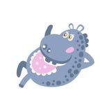 Illustration menteuse de vecteur de bande dessinée de caractère mignon d'hippopotame Images libres de droits