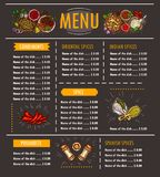 illustration of a menu with a special offer of various herbs, spices, seasonings and condiments royalty free illustration