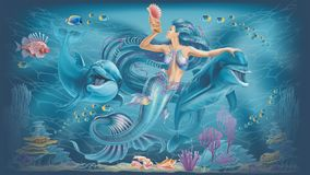 Illustration of a mermaid and dolphins. Under water fish and dolphins stock illustration