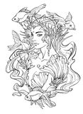 Illustration of mermaid princess and goldfishes. Illustration of mermaid princess with curled hair, decorated with seashell elements, and goldfishes. Black and Stock Photography