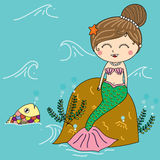 Illustration of mermaid in the sea with colorful fish, smiling f Royalty Free Stock Image