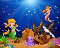 Illustration mermaid under the sea Royalty Free Stock Image