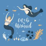 Illustration with mermaids and lettering Stock Images