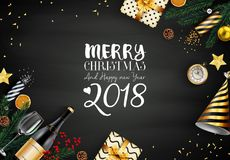 Merry christmas 2018 card with black and gold christmas elements. Illustration of Merry christmas 2018 card with black and gold christmas elements Stock Photos