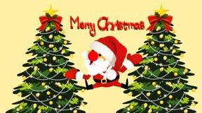 Illustration of Merry Christmas greeting card wallpaper. Funny cartoon character. Illustration merry christmas greeting card wallpaper funny cartoon character royalty free illustration