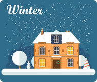 Illustration Merry Christmas and Happy New Year Background with Winter City Landscape with flat house and trees and decorations. stock illustration