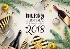 Merry christmas and happy new year 2018 card with fir branches and elements. Illustration of Merry christmas and happy new year 2018 card with fir branches and Royalty Free Stock Images