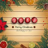 2018 merry christmas and happy new year with red christmas balls and fir branches on wood background. Illustration of 2018 merry christmas and happy new year Royalty Free Stock Image