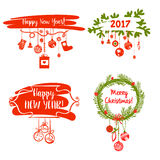 Illustration for merry christmas and happy new year 2017 . Set d. Esign  element for greeting card, poster, postcard, invitation with christmas decoration Royalty Free Stock Photos