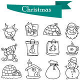Illustration of Merry Christmas icons Royalty Free Stock Images
