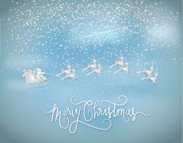 Illustration of Merry christmas and new year. Santa claus givein royalty free illustration