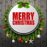 Merry christmas round frame with fir branches on wood board background. Illustration of Merry christmas round frame with fir branches on wood board background Royalty Free Stock Photography