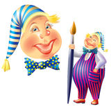 Illustration of merry clown with brush. Royalty Free Stock Photo