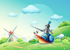 Illustration merry knight attacking the mill on the cochlea.  royalty free illustration