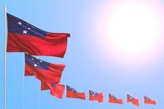 Illustration merveilleuse du drapeau 3d de festin - beaucoup de drapeaux du Samoa ont placé diagonal avec le bokeh et l'endroit l illustration libre de droits