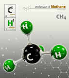 Illustration of Methane Molecule isolated grey background Royalty Free Stock Photos