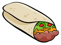 Illustration mexicaine de bande dessinée de tortilla de burrito Photo stock