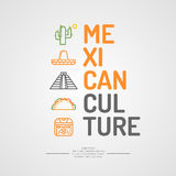 Illustration of Mexican culture. Poster with traditional elements of Mexican culture. Vector illustration Stock Image
