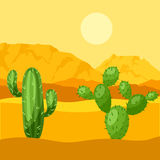 Illustration of mexican desert with cactuses and Royalty Free Stock Images