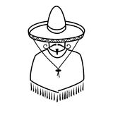 Illustration of Mexican in sombrero. On white background Royalty Free Stock Photo